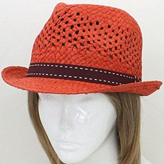 "Amazon.com: Hat, Color : Rust Orange Burgundy • Size : Rim 11"" / Inner Diameter 6"" / Height 5"" • Paper Straw Weave Fedora Hat: Everything El..."