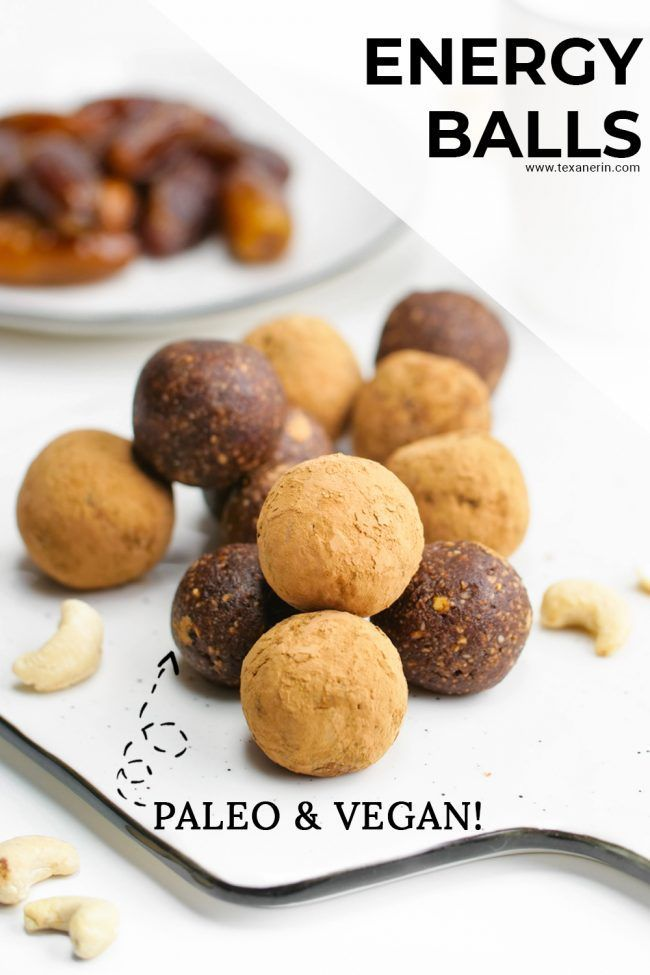 These Paleo and vegan energy balls only take about 5 minutes to put together! That's right, 5 minutes. Plus, they only contain 3 ingredients. What could be simpler? They taste like no-bake brownies and they make a great on the go snack! So, make this quick recipe, grab one or two for a snack and get going.