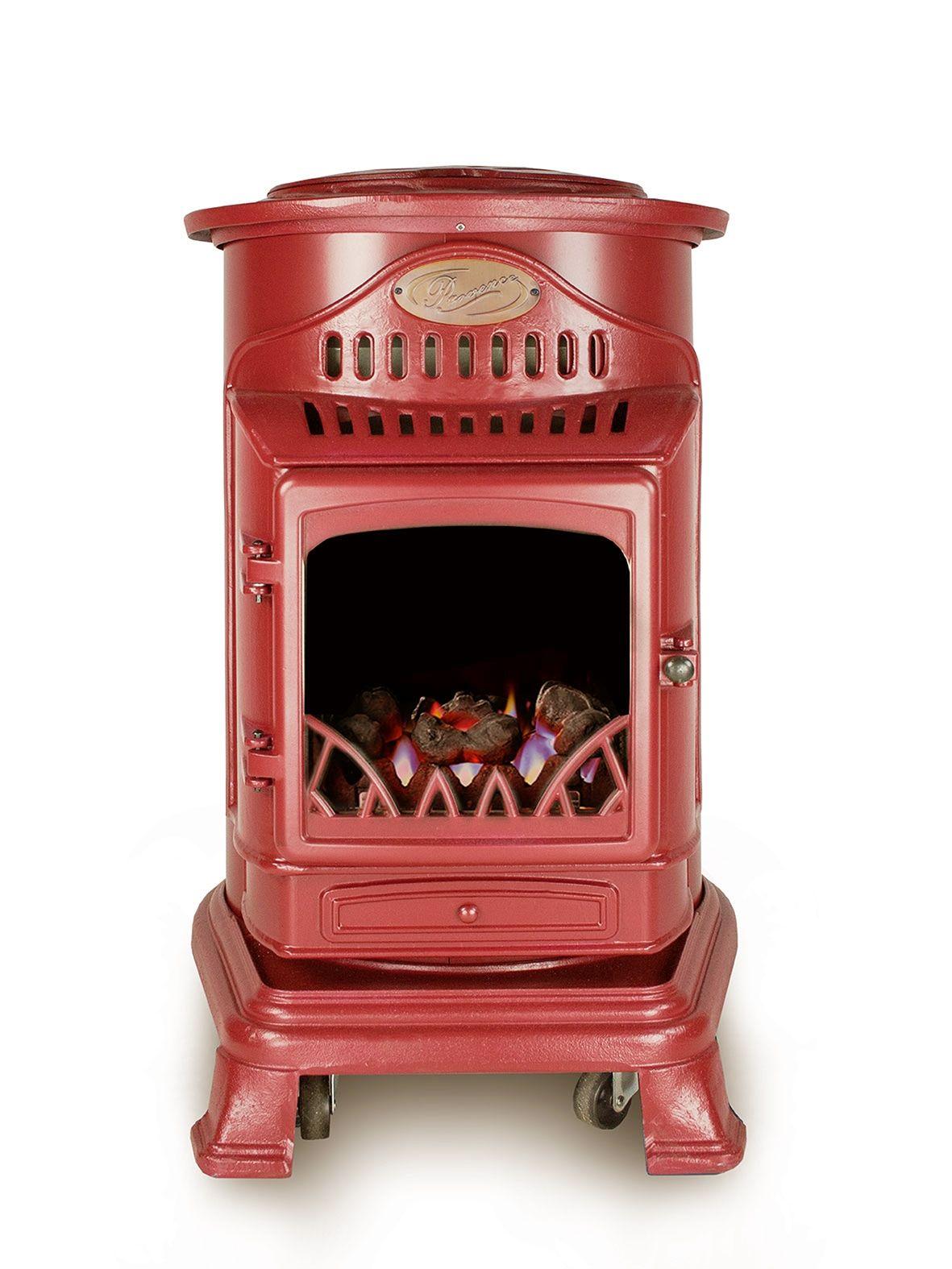 Estufa De Gas Portatil Modelo Provence Color Rojo Retro Chimeneas De Gas Chimeneas Estufas De Lena