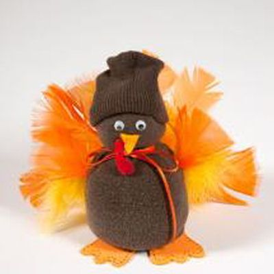 Sock Turkey…would be cute with a patterned brown sock