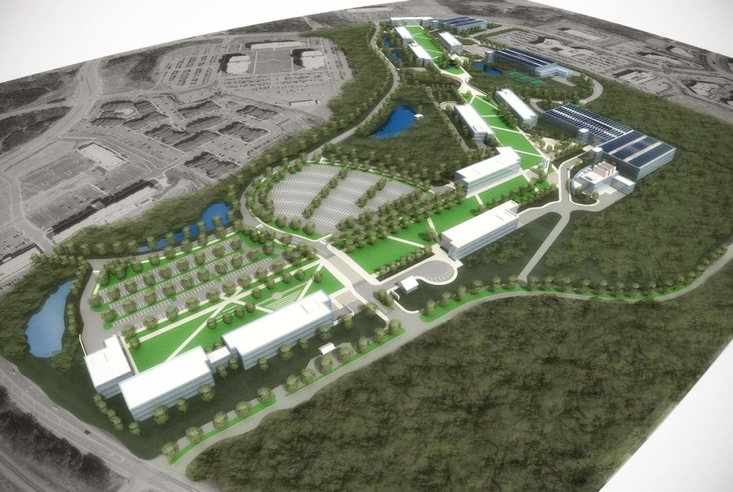 Community college campus master plan 3d rendering for Building site plans