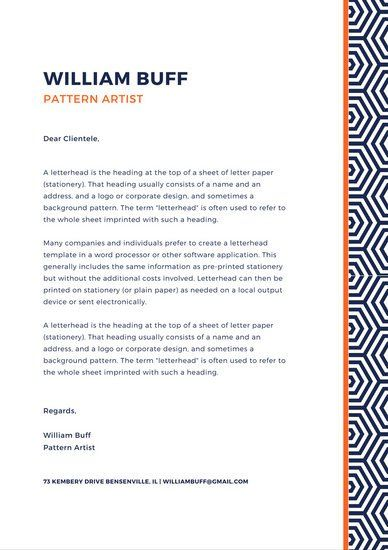 Navy Blue Geometric Pattern Personal Letterhead  Stationary Design