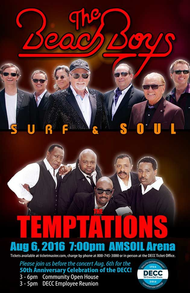 Temptations Beach Boys August 6 2016 Amsoil Arena In Duluth