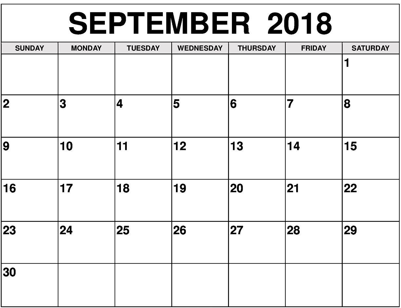 Calendar September 2018 Blank Template
