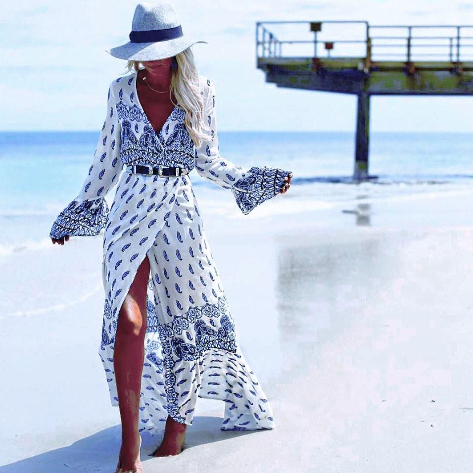 Photo of Bohemian Slit Maxi Dress