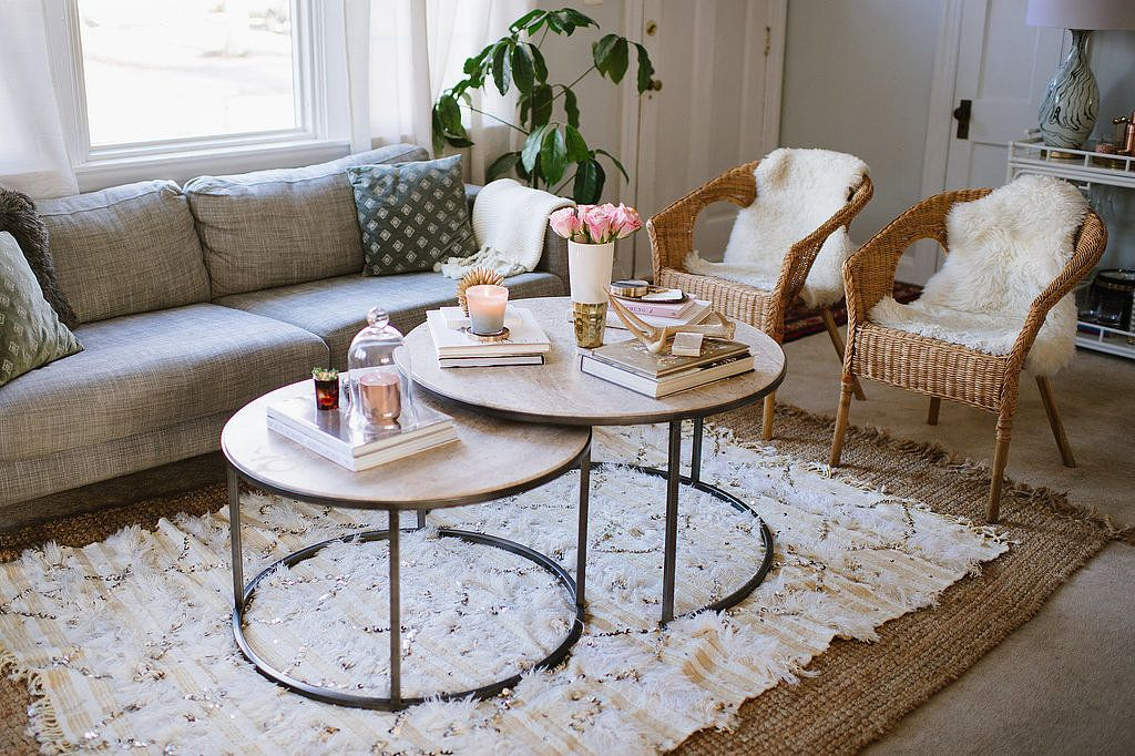 7 Sneaky Ways To Add More Square Footage Decorating Small Spaces Nesting Tables Living Room Living Room Furniture Layout