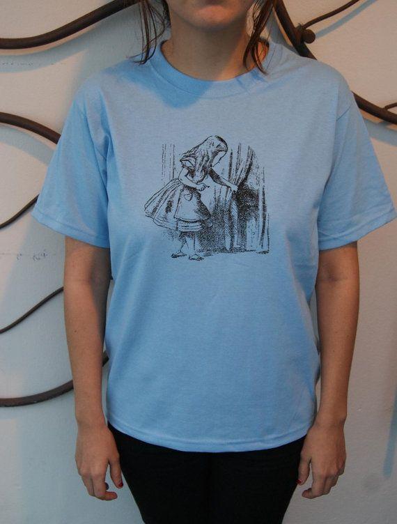 Screenprint Shirt  Alice in Wonderland Print by SamsaraPrints, $15.00