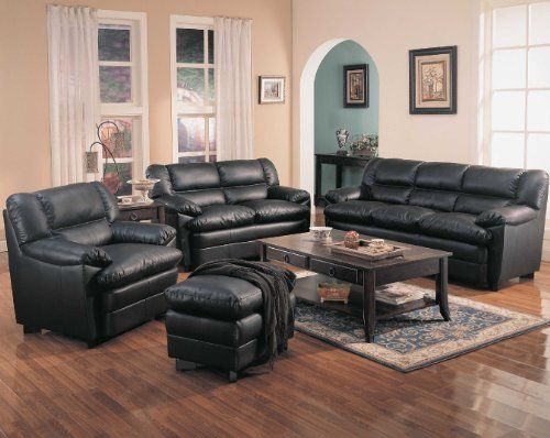 Harper Overstuffed Leather Sofa With Pillow Arms    Coaster 501921 By  Coaster Home Furnishings.