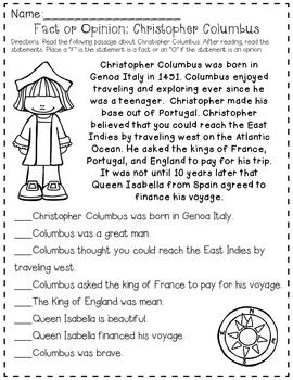 Columbus Day Esl Reading Reading Comprehension Reading Skills