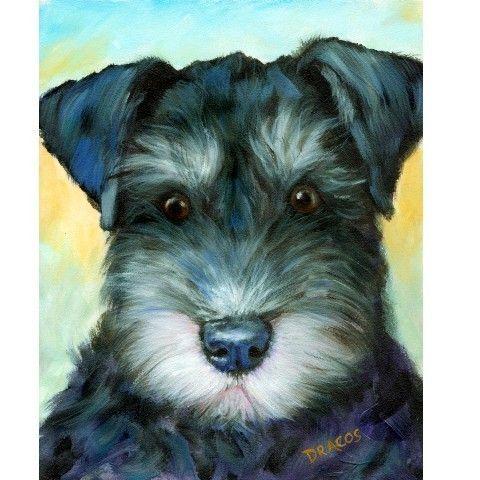 Black Schnauzer Pup Portrait Dog Art 8x10 Signed by DottieDracos, $12.00
