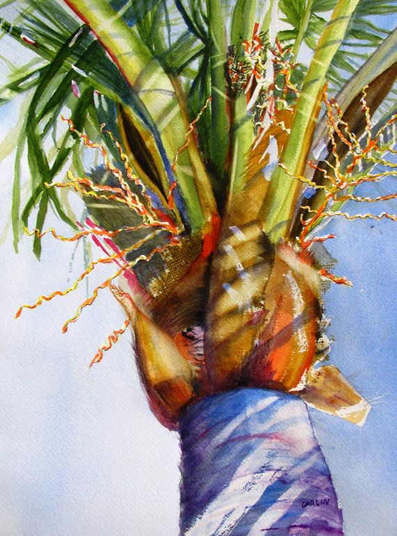 Original Watercolor Painting Coconut Palm Tree Green Palm Fronds