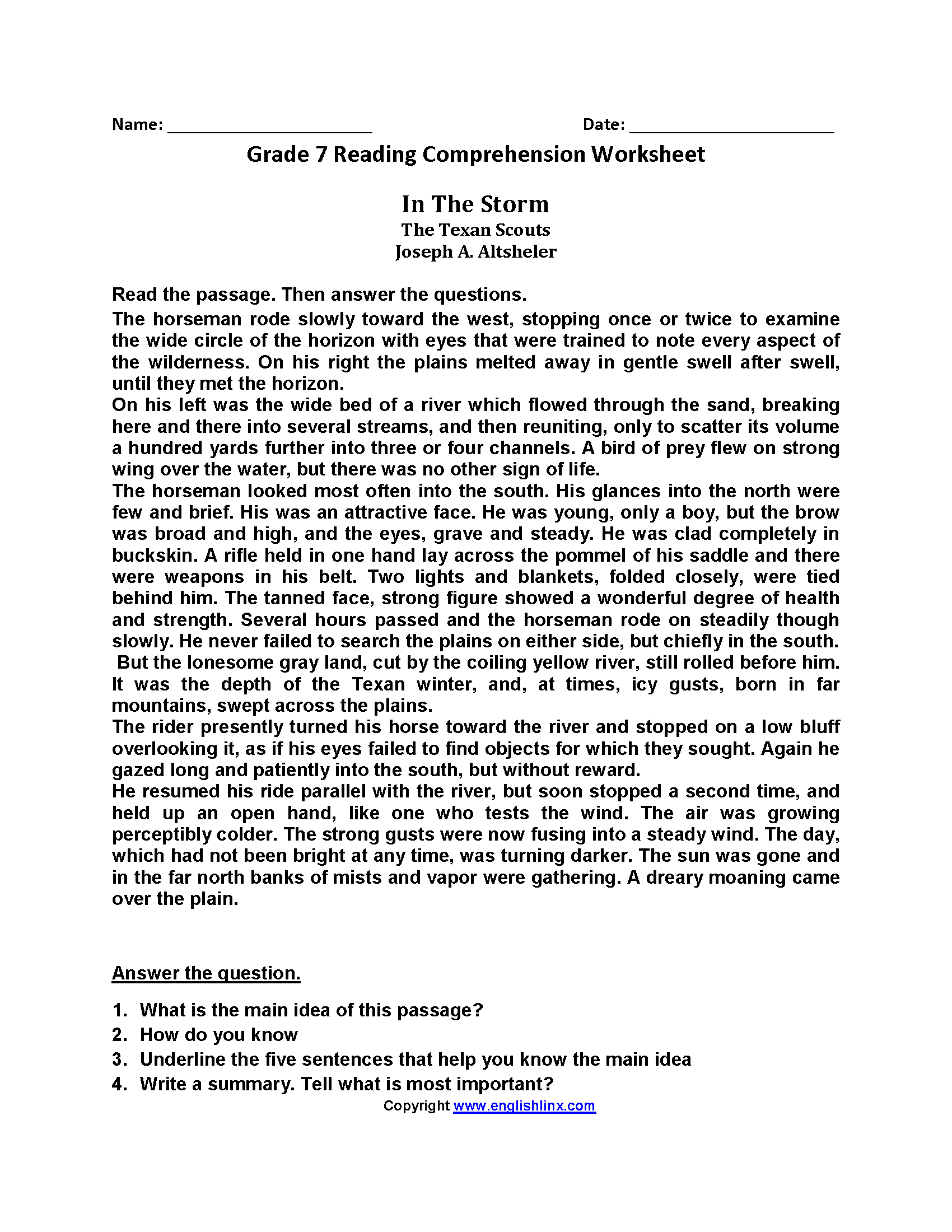 - Seventh Grade Reading Worksheets Reading Comprehension