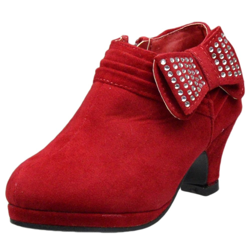 Kids Ankle Boots Rhinestone Embellished Bow High Heel Booties Red ...