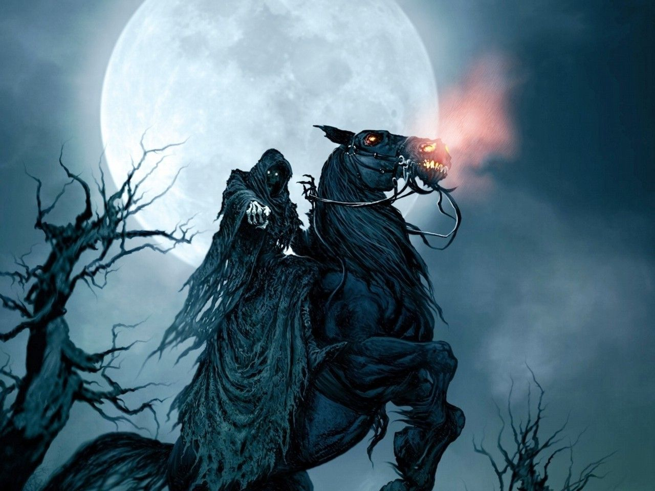 Grim Reaper On Horse Wallpaper High Definition For Desktop