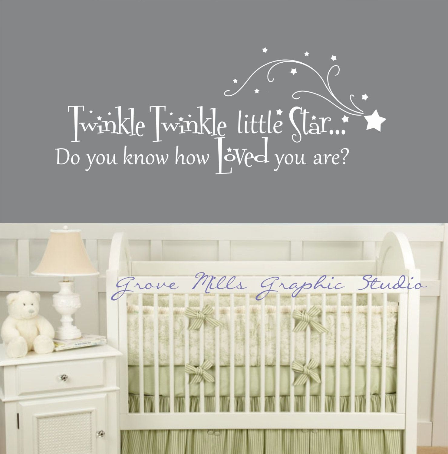 Elegant Twinkle Twinkle Little Star Wall Decal   Nursery Wall Decal   Baby Room  Decal. $30.00