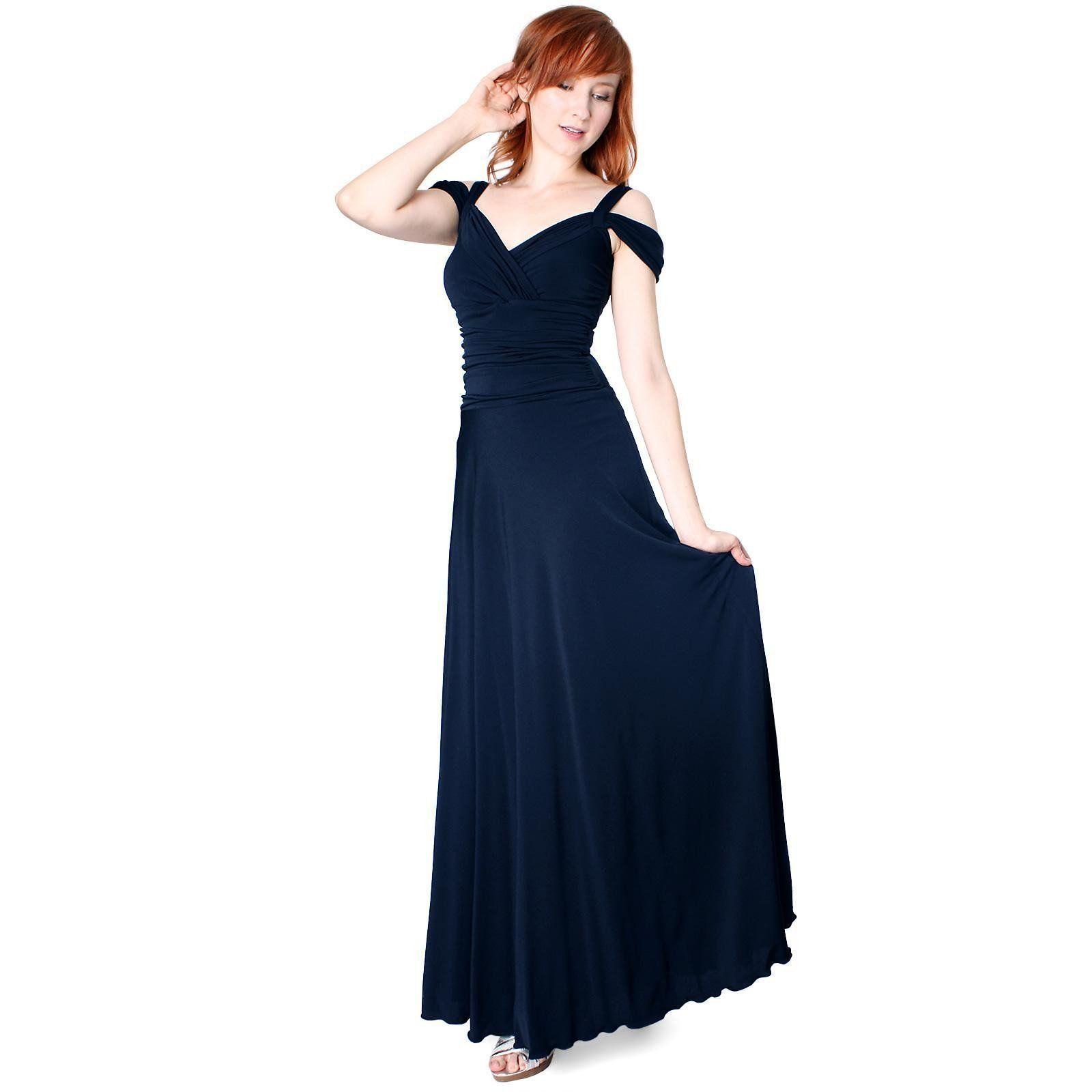 3f76d8c51e9 Evanese Women s Elegant Slip On Long Formal Evening Dress with Shoulder  bands