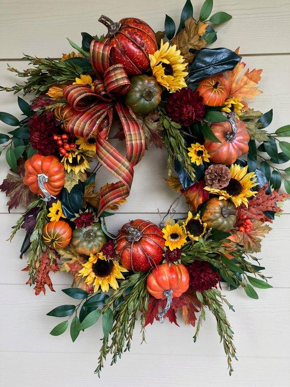 Photo of Fall Wreath For Front Door, Pumpkin Wreath for Front Door, Fall Wreath Sunflowers, Thanksgiving Wreath, Fall Wreath, Pumpkin Wreath