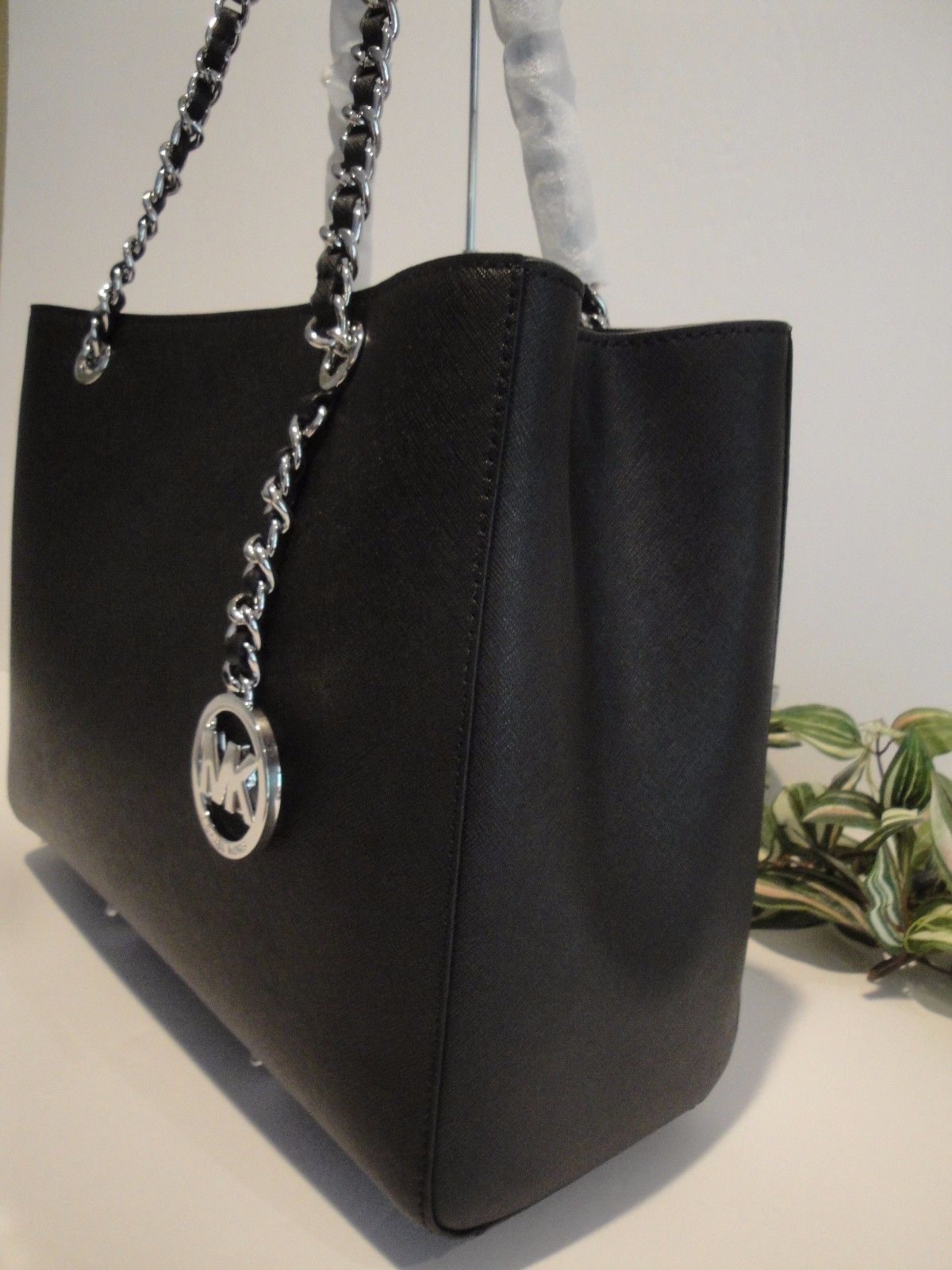 1a42553de2d9 ... sale michael kors susannah large tote bag satchel saffiano leather 398  black silver 179.99 http fc76c