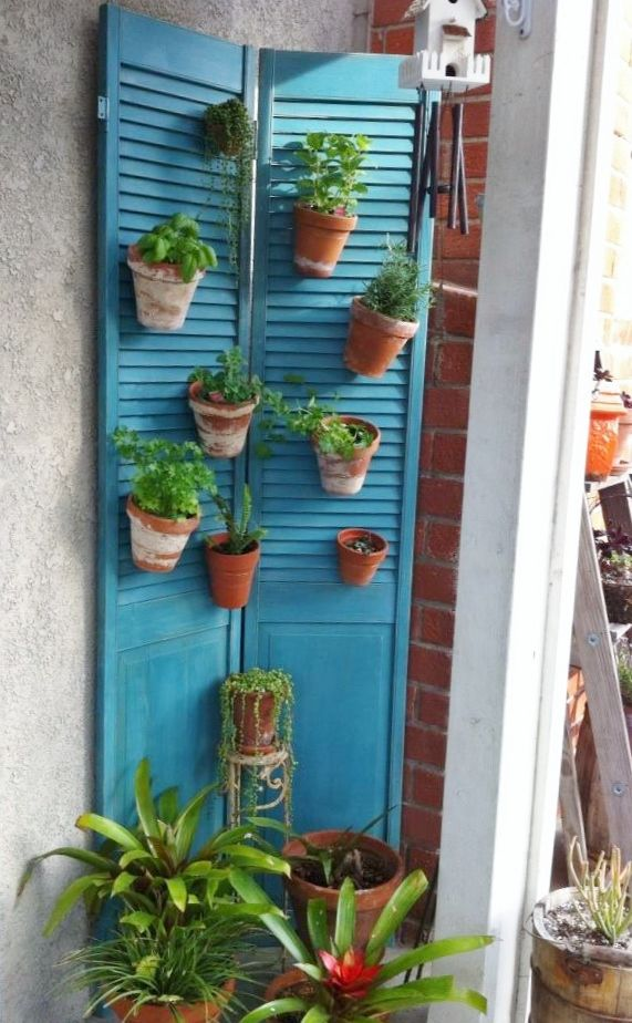 My herb garden creation. Used some old shutters my parents had. I re ...