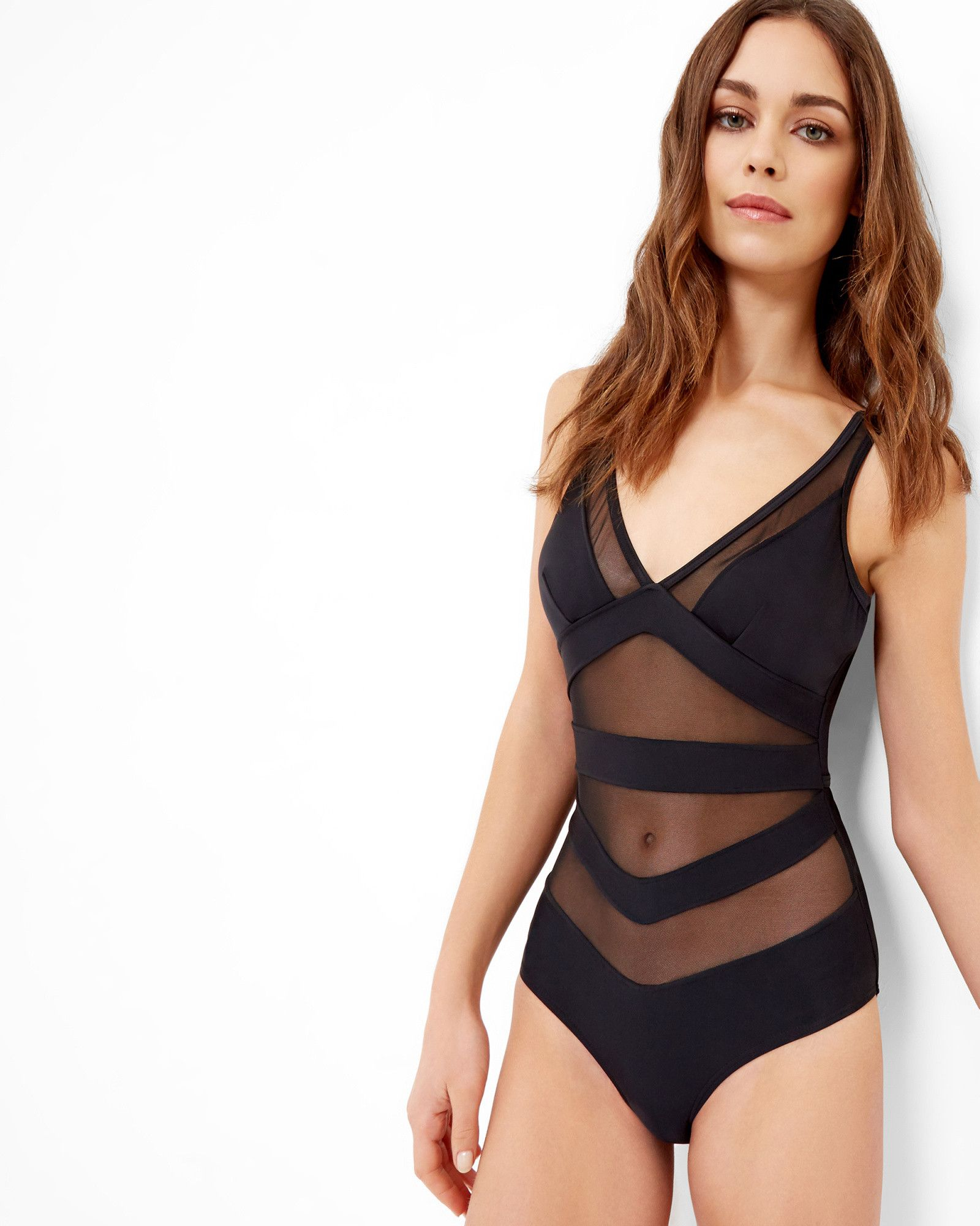 fe85fca034aedc Mesh detail swimsuit - Black | Swimwear | Ted Baker UK Bikinis Uk, Swimwear  Uk