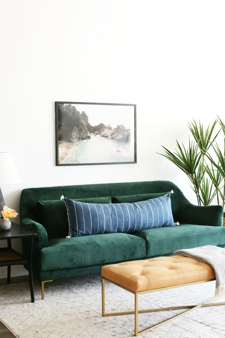 Add The Modern Decor Touch To Your Home Interior Design Project This Scandinavian Home Decor Might Ju Green Sofa Living Room Interior Design Living Room Green
