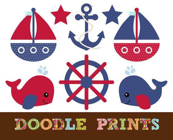 Nautical Sailboat Clipart Digital Clip Art by doodleprints, $5.00