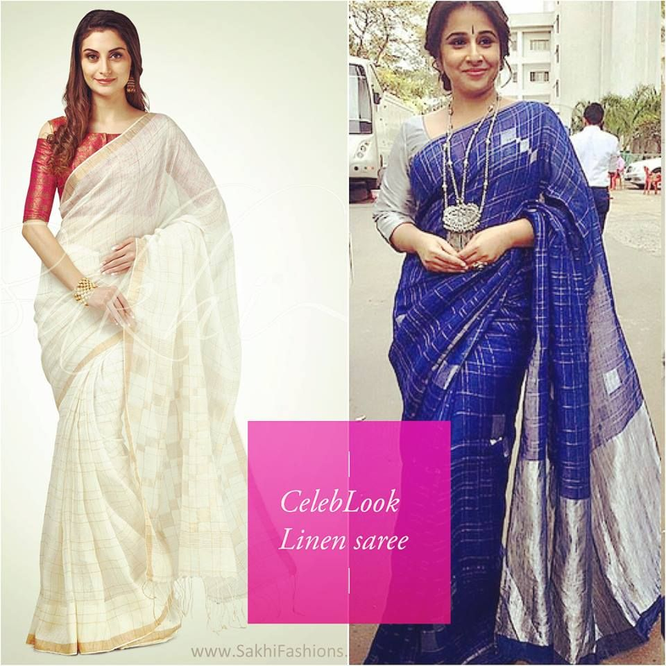 a74d26e6246d7c Beautiful Bollywood vidya balan wearing linen saree in elite blue with  silver design and cream with gold checks design #bollywood #celeb #cream  #blue #linen ...