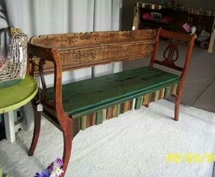 Old chairs made into a bench