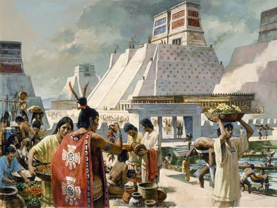 'A Bustling Marketplace in the Aztec Capital of Tenochtitlan' Giclee Print - H. Tom Hall   AllPosters.com