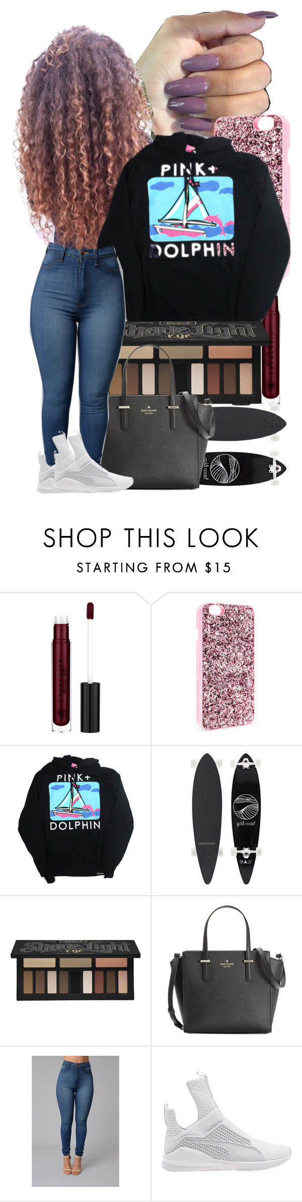 """""""Untitled #48"""" by zariaaxo ❤ liked on Polyvore featuring Victoria's Secret, Kat Von D, Kate Spade and Puma"""