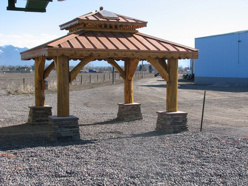 Natural log wood gazebo rustic patio new york by