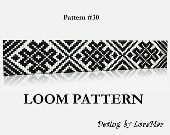 Seed Bead Loom Pattern #16- Two Color Palettes- Ice