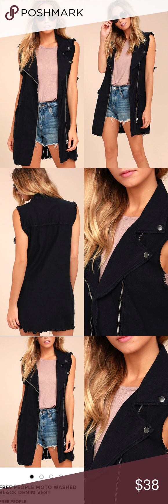Free People Moto Washed Denim Vest The Free People Moto Washed Black Denim Vest adds edgy appeal to any ensemble! Woven cotton forms this moto-style vest with a longline silhouette. Notched collar, front zip closure, flap pockets, and frayed, back-stitched hems complete the look. Unlined. 100% Cotton. Machine Wash Cold. Imported. Free People Jackets & Coats Vests