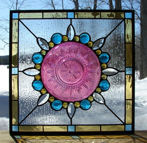Old Windows Flowers Cobalt