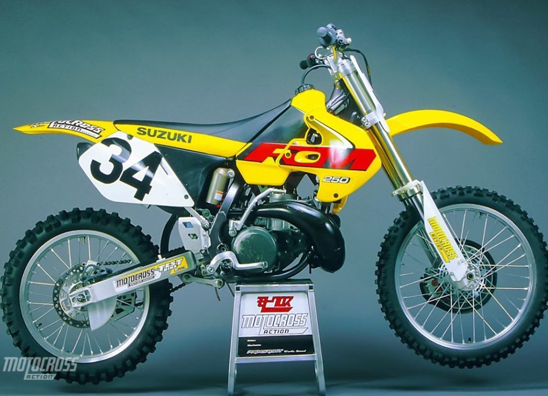 Looking Back At The Suzuki Rm250 2stroke For Twostroketuesday Can Anyone Name The Year Motocross Motocrossaction Motocross Action Suzuki Motocross