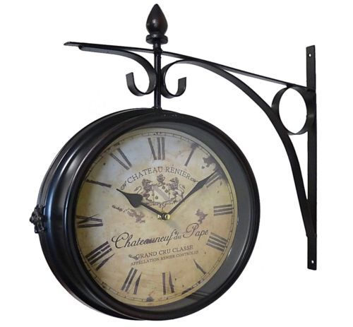 style ancienne grande horloge pendule de gare cuisine industriel bar murale id es pour la. Black Bedroom Furniture Sets. Home Design Ideas