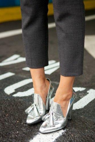 Alexander Wang metallic heeled oxfords