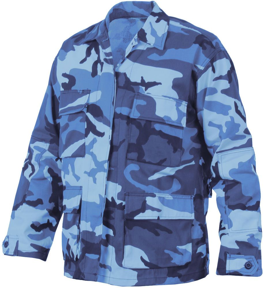 Mens Sky Blue Camouflage Military BDU Shirt Tactical Uniform Army Coat  Fatigues  Rothco  BDUShirt 0a686bd832c