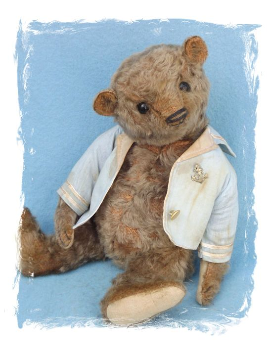 Vintage style hand made teddy bear by artist Susanne Tauber, Die aus dem Koffer