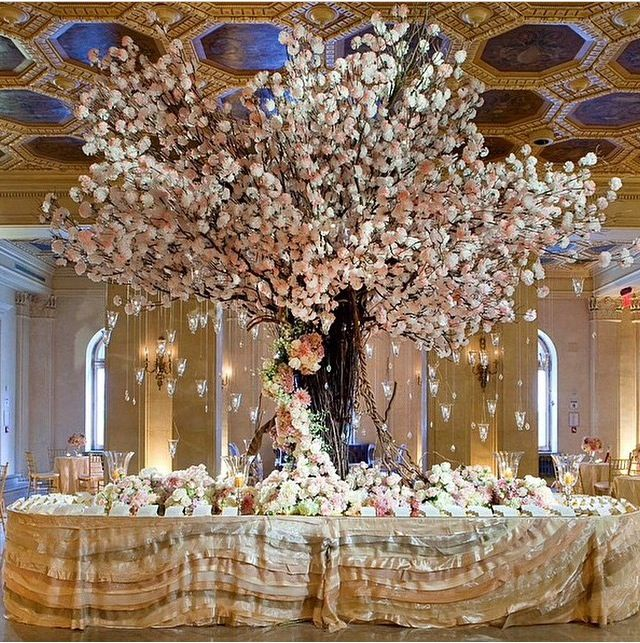 Wedding Reception Sweetheart Table Tree Centerpiece Card Floral Arrangements High