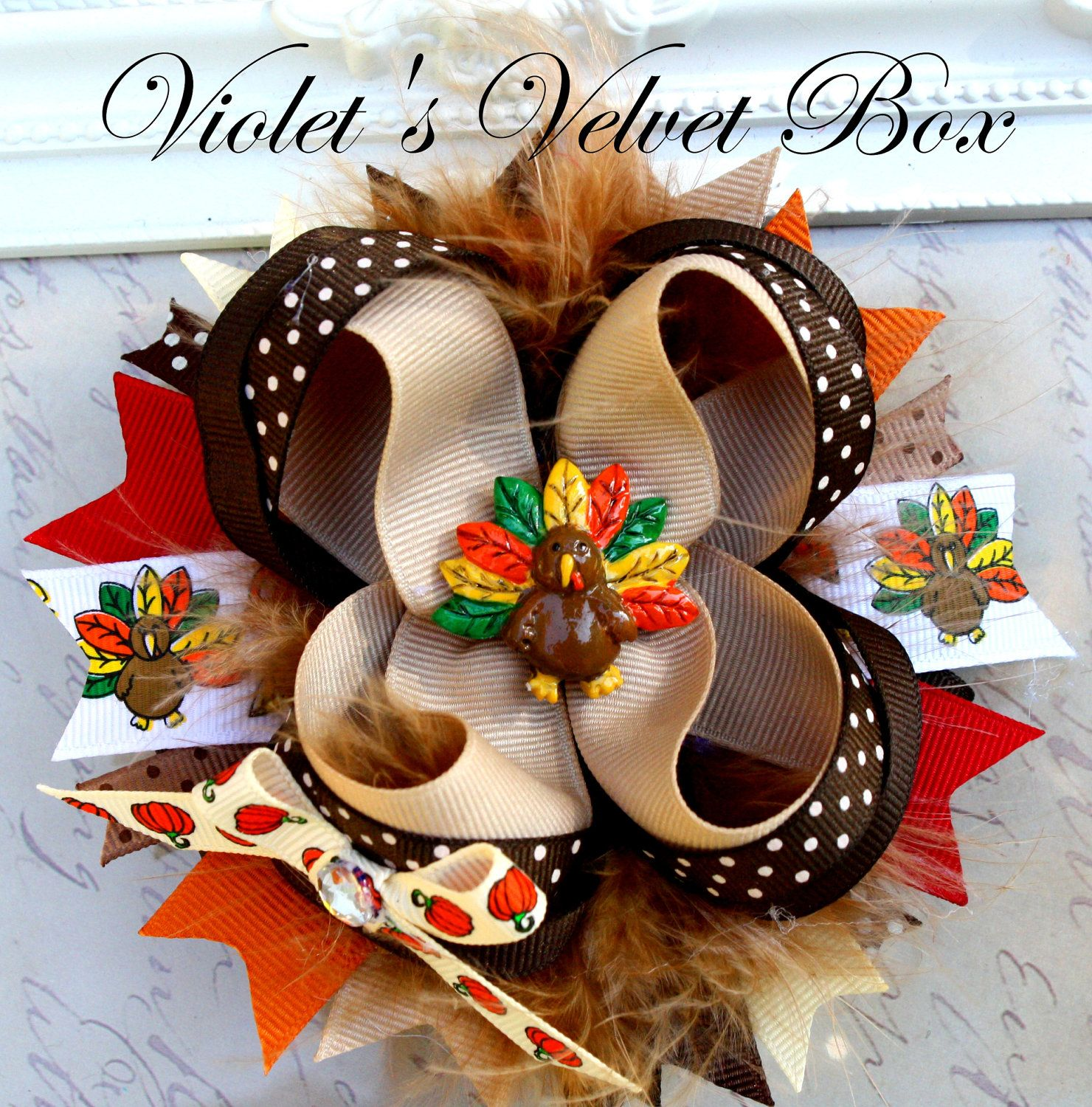 OVER THE TOP Bow- Boutique Bow- Thanksgiving Hair Bow- Luxurious bow by Violet's Velvet Box. $9.99, via Etsy.
