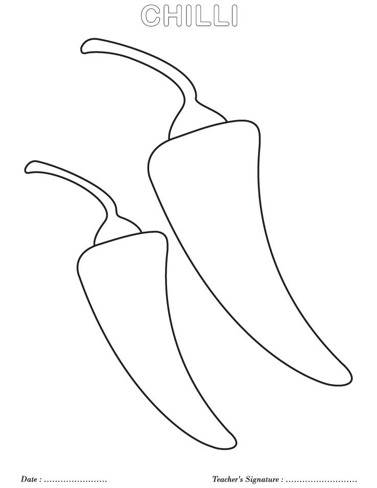 Chilli Coloring Page Coloring Pages Coloring For Kids