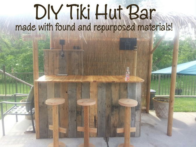 pallet tiki bars DIY Tiki Hut Bar made with found and repurposed