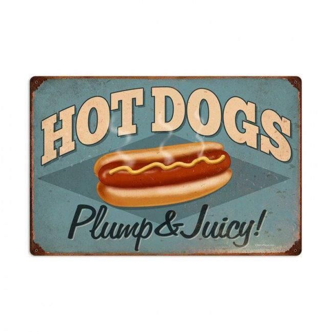 Hot dogs retro planet advertising metal sign vintage style diner cafe signs home decor wall art free shipping