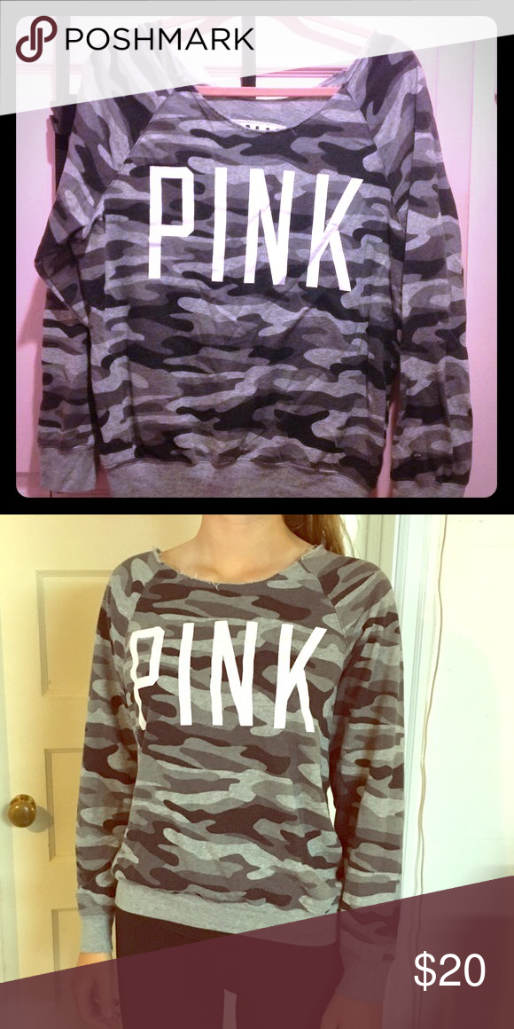 f176e8e50744 VS Pink camo Sweatshirt Great condition!! Off the shoulder style. Fit is a  bit oversized. PINK Victoria s Secret Tops Sweatshirts   Hoodies