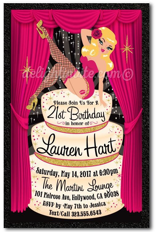Rockabilly Pinup Girl Burlesque 21st Birthday Invitations Click