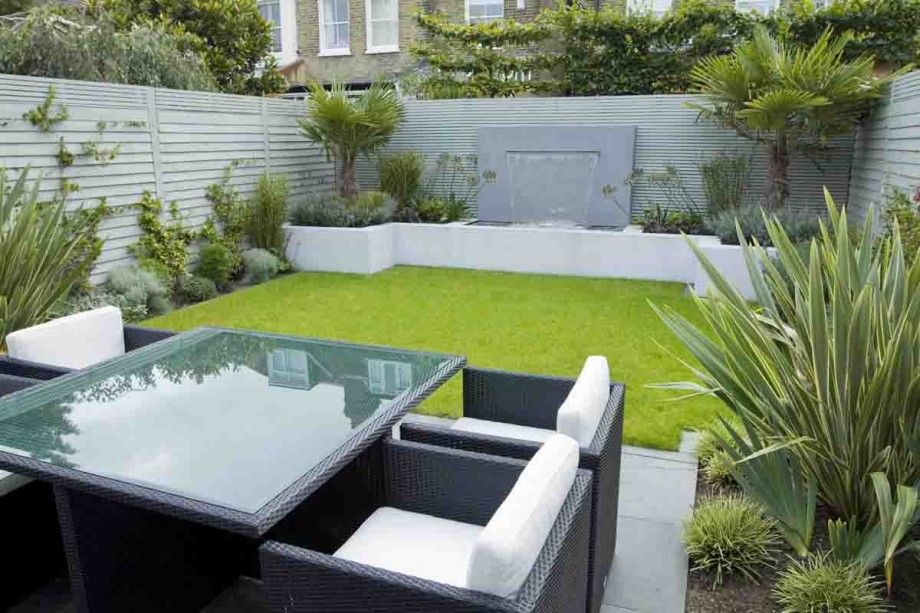 Trendy Outdoor Room Furniture Set Feat Modern Garden With Neat Lawn And Waterfall  Design Idea