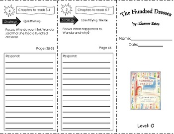 This trifold was made to be utilized with Hundred Dresses by Eleanor Estes.  This book is a Fountas and Pinnell guided reading level O.  The trifold template was from Jessica Winston's website and I developed questions based on the third grade common core standards.
