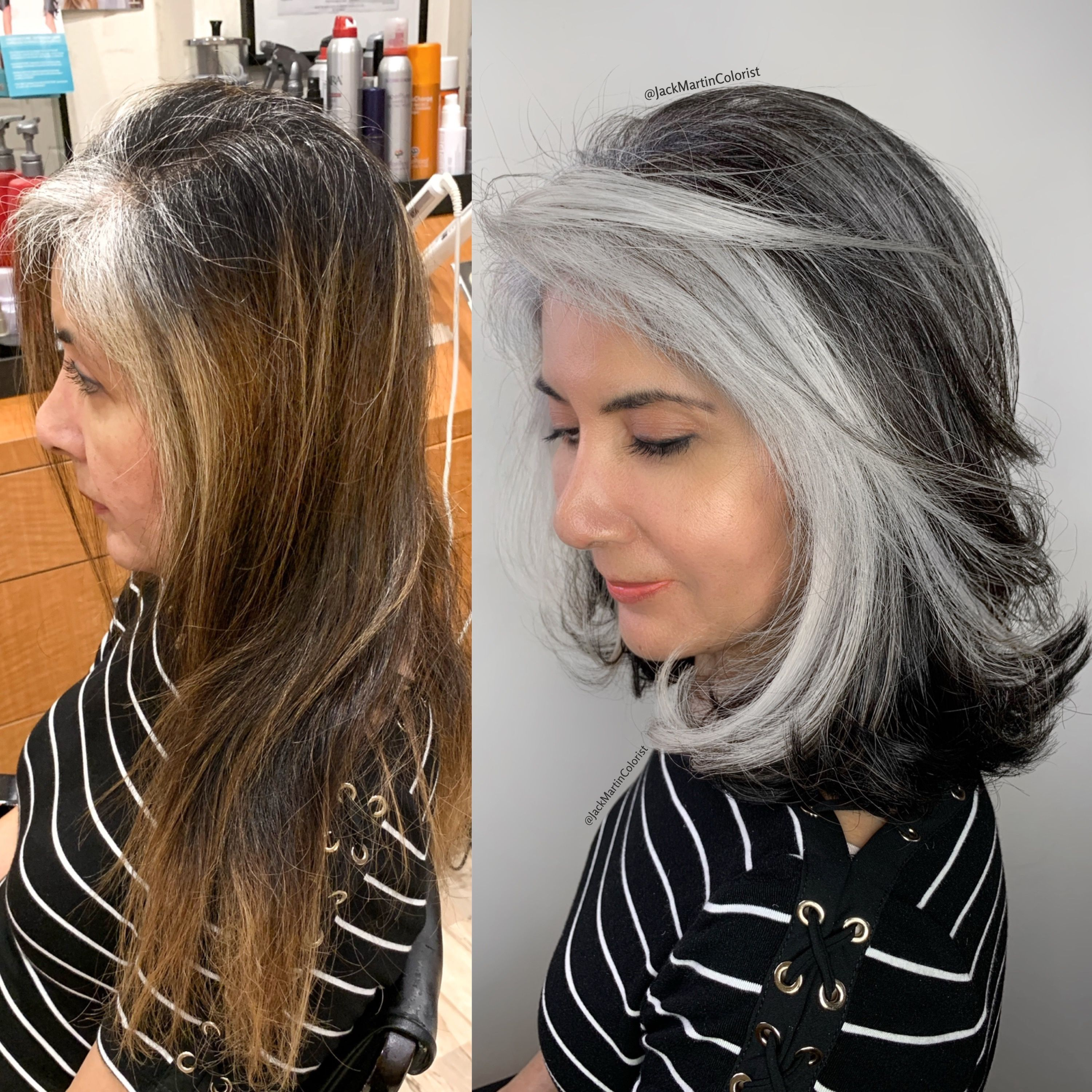 Match The Pattern Of Your Grey Roots Click On Link Below For How I Did It Gray Hair Highlights Hair Styles Blending Gray Hair