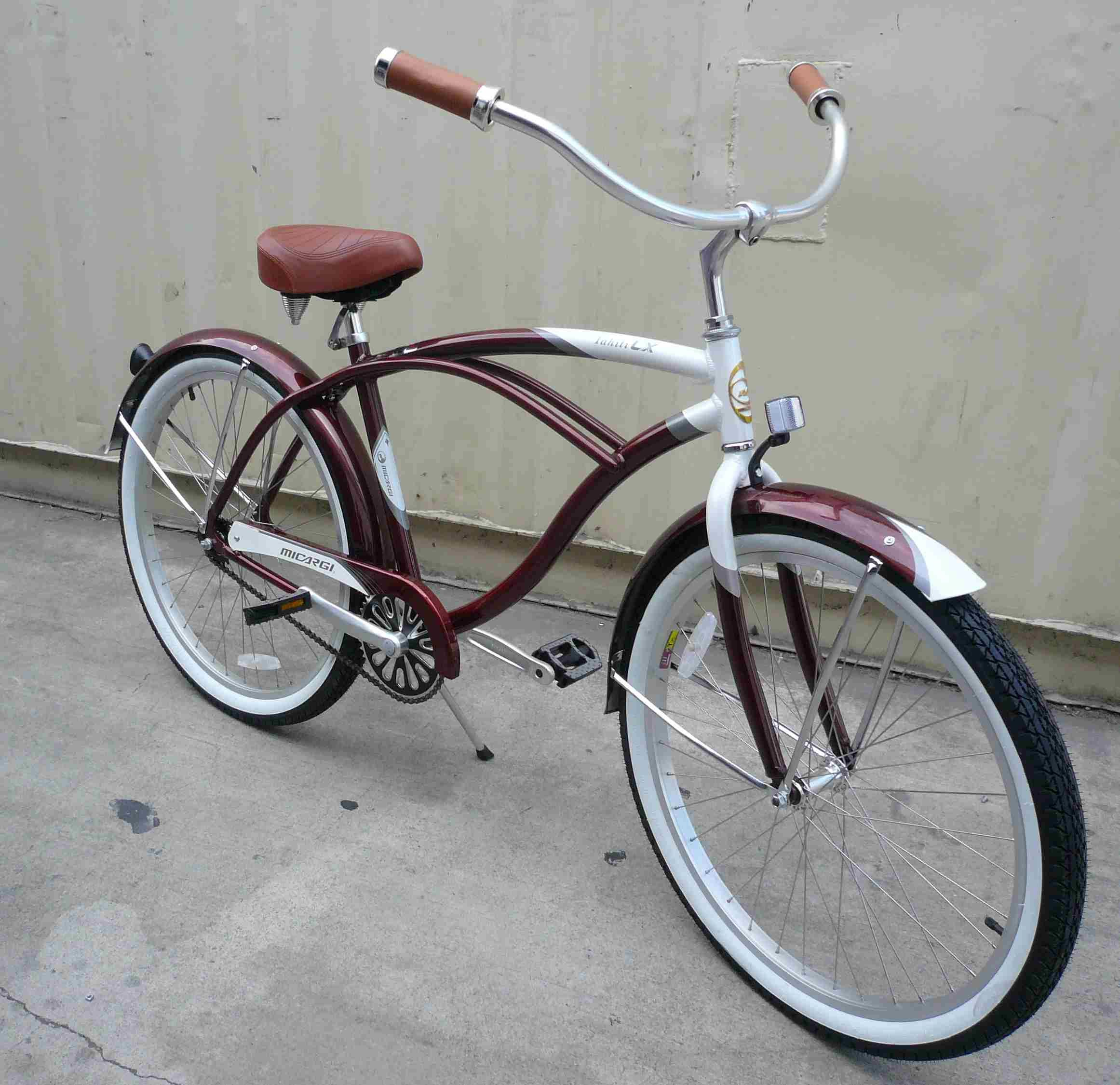 26 alloy beach cruiser bicycle bike micarg men brown w 3 piece crank
